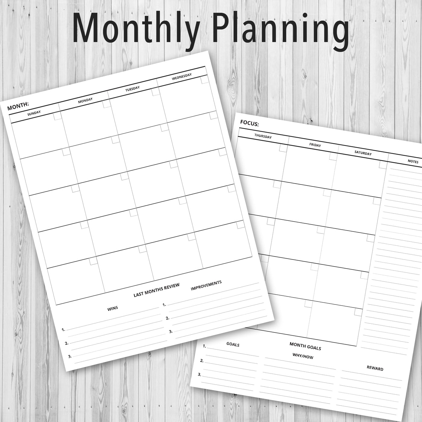 Printable PDF Personal Planner, Monthly Planning