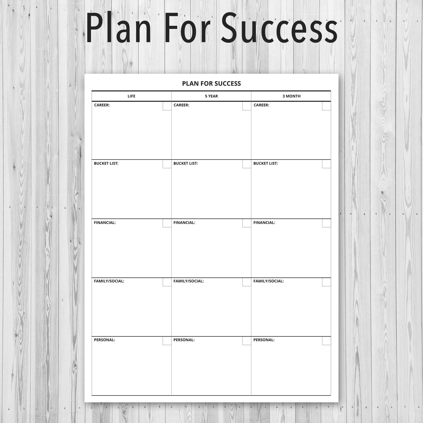 Printable PDF Personal Planner, Plan for Success