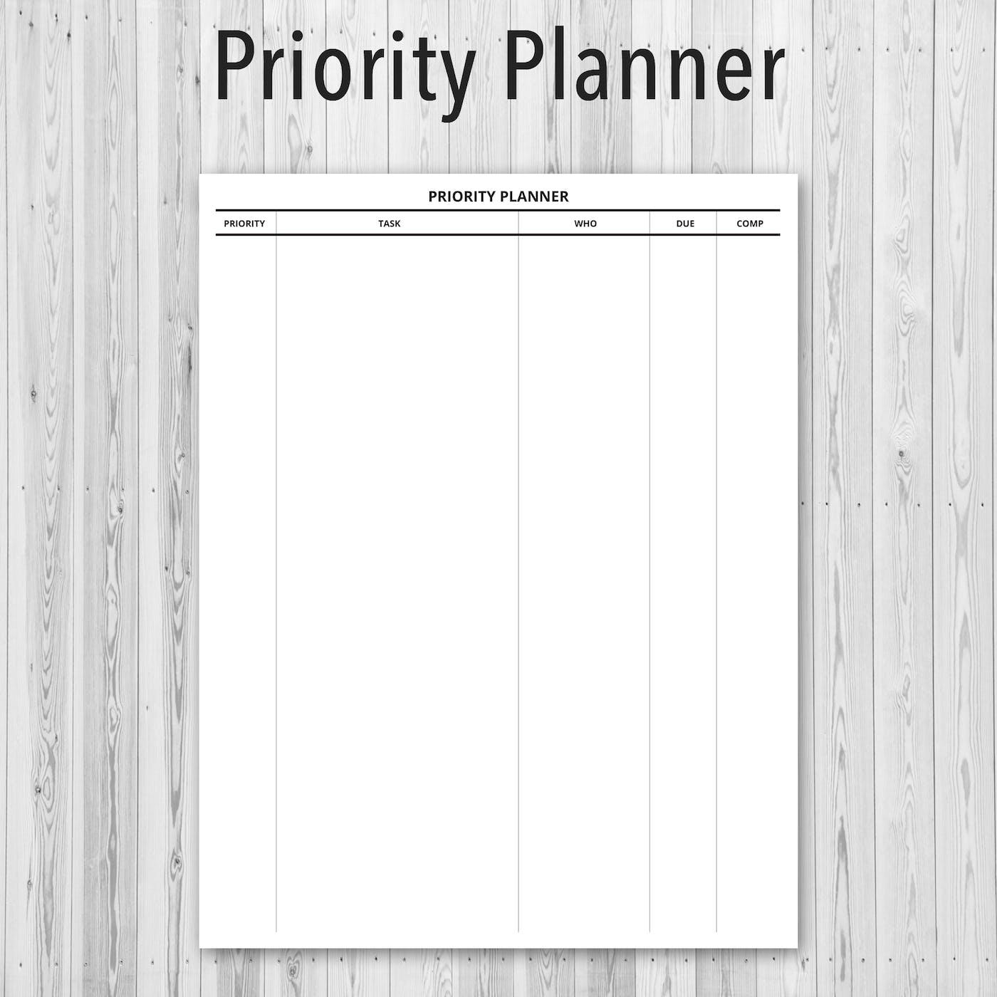 Printable PDF Personal Planner, Priority Planner