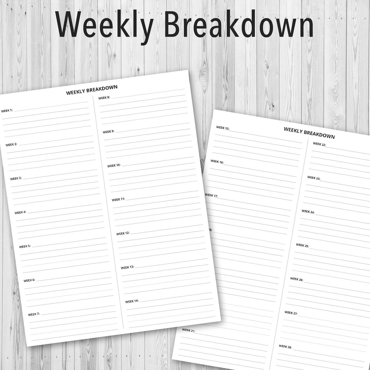 Printable PDF Personal Planner, Weekly Breakdown