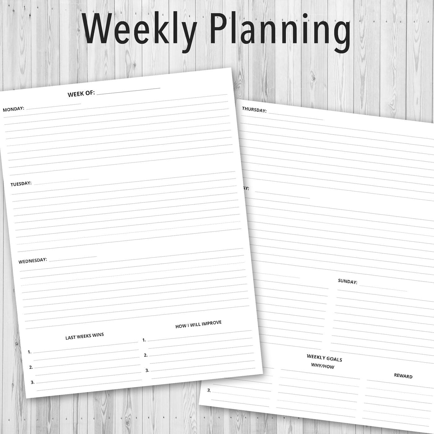 Printable PDF Personal Planner, Weekly Planning